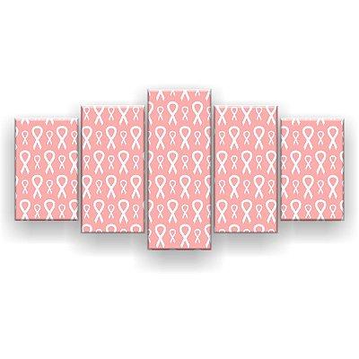 Quadro Decorativo Lacinhos Rosa 129x61 5pc Sala
