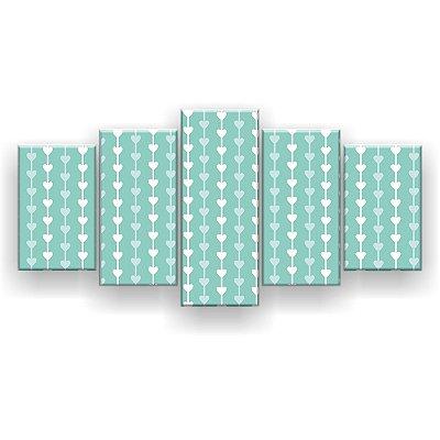 Quadro Decorativo Corrente Coração Fundo Azul 129x61 5pc Sala