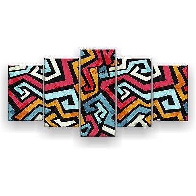Quadro Decorativo Mosaico Abstrato 129x61 5pc Sala
