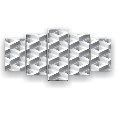 Quadro Decorativo Branco 3D 129x61 5pc Sala