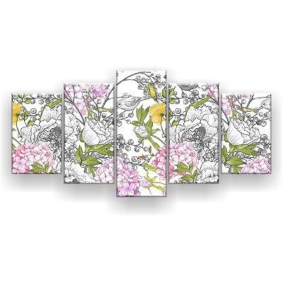 Quadro Decorativo Pássaros E Flores 129x61 5pc Sala