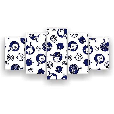 Quadro Decorativo Porquinhos 129x61 5pc Sala