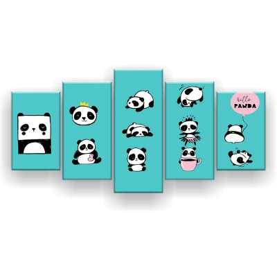 Quadro Decorativo Hello Panda 129x61 5pc Sala