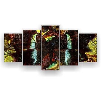 Quadro Decorativo Pintura Borboleta 129x61 5pc Sala