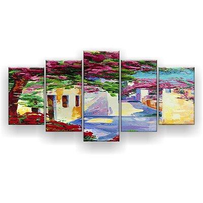 Quadro Decorativo Pintura Cidade 129x61 5pc Sala