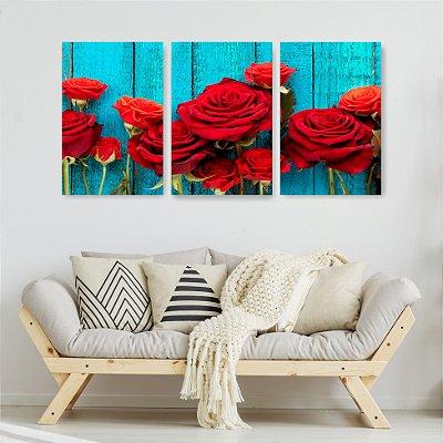 Quadro Decorativo Rosas Vermelhas 3P Sem Moldura 115x57 Sala Quarto