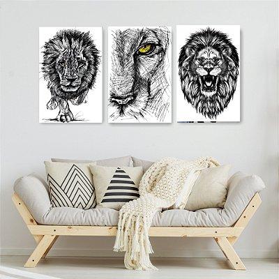 Quadro Decorativo Desenho Leão 3P Sem Moldura 115x57 Sala Quarto