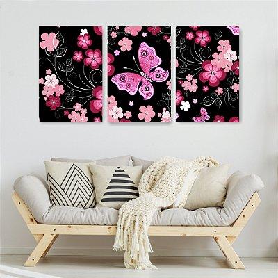 Quadro Decorativo Flores E Borboletas 3P Sem Moldura 115x57 Sala Quarto