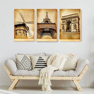 Quadro Decorativo Torre Eiffel 3P Sem Moldura 115x57 Sala Quarto