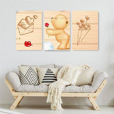 Quadro Decorativo Ursinho Love 3P Sem Moldura 115x57 Sala Quarto