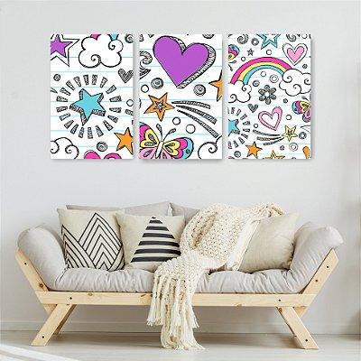 Quadro Decorativo Desenho De Corações E Estrelas 3P Sem Moldura 115x57 Sala Quarto