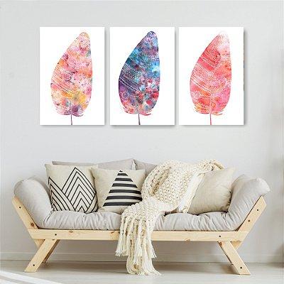 Quadro Decorativo Penas Rosa E Roxa 3P Sem Moldura 115x57 Sala Quarto