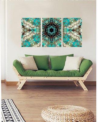 Quadro Decorativo Mandala Verde Água 3P Sem Moldura 115x57 Sala Quarto