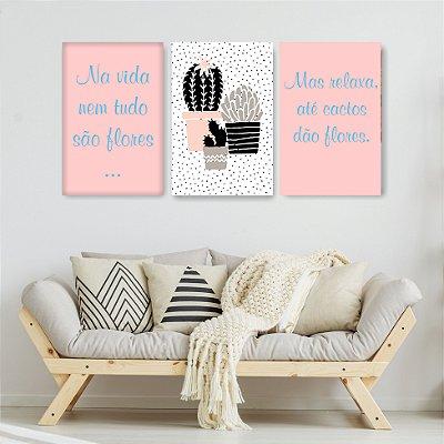 Quadro Decorativo Nem Tudo Na Vida São Flores 3P Sem Moldura 115x57 Sala Quarto
