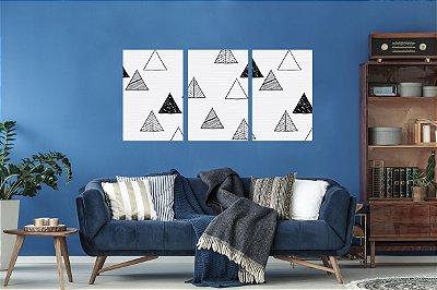 Quadro Decorativo Triângulos 3P Sem Moldura 115x57 Sala Quarto