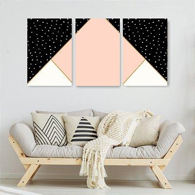 Quadro Decorativo Triângulo Rosa 3P Sem Moldura 115x57 Sala Quarto