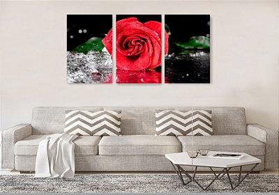 Quadro Decorativo Rosa Vermelha Com Água 3P Sem Moldura 115x57 Sala Quarto