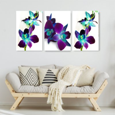 Quadro Decorativo Orquídea Roxa 3P Sem Moldura 115x57 Sala Quarto
