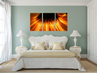 Quadro Decorativo Girassol Luz 3P Sem Moldura 115x57 Sala Quarto