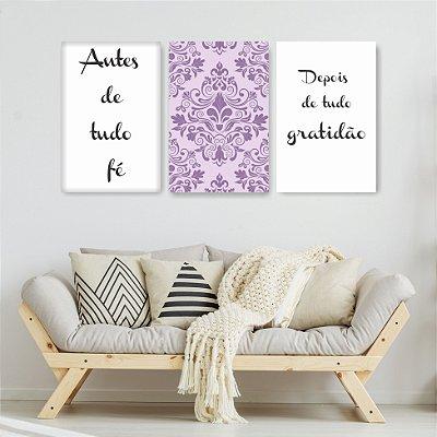 Quadro Decorativo Antes De Tudo Fé 3P Sem Moldura 115x57 Sala Quarto
