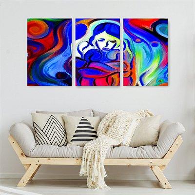 Quadro Decorativo Pintura Mulher Triste 3P Sem Moldura 115x57 Sala Quarto