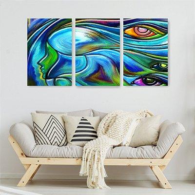 Quadro Decorativo Pintura Olhos No Cabelo 3P Sem Moldura 115x57 Sala Quarto