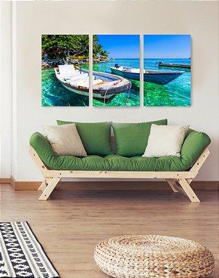 Quadro Decorativo Barcos 3P Sem Moldura 115x57 Sala Quarto