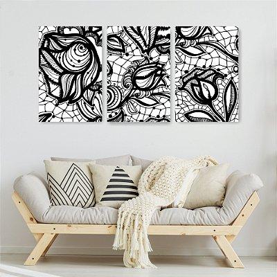 Quadro Decorativo Rosas Contorno Preto 3P Sem Moldura 115x57 Sala Quarto