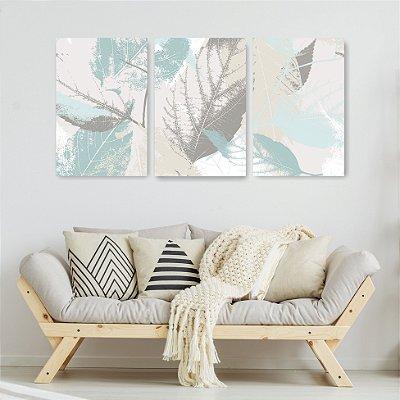 Quadro Decorativo Folhas 3P Sem Moldura 115x57 Sala Quarto