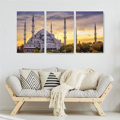 Quadro Decorativo Palácio Índia 3P Sem Moldura 115x57 Sala Quarto
