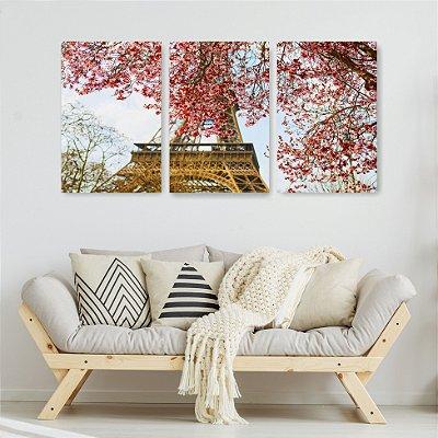 Quadro Decorativo Árvore Rosa Torre 3P Sem Moldura 115x57 Sala Quarto