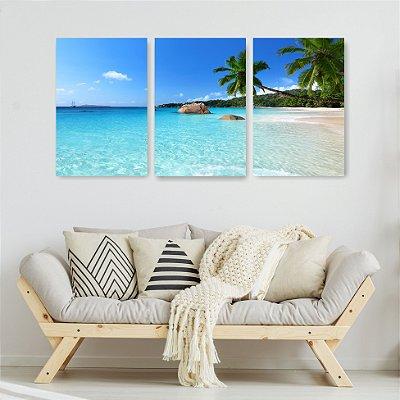 Quadro Decorativo Linda Praia 3P Sem Moldura 115x57 Sala Quarto