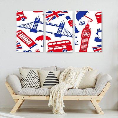 Quadro Decorativo Londres Vermelho E Azul 3P Sem Moldura 115x57 Sala Quarto