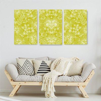 Quadro Decorativo Verde Florido 3P Sem Moldura 115x57 Sala Quarto