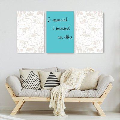 Quadro Decorativo O Essencial É Invisivel 3P Sem Moldura 115x57 Sala Quarto