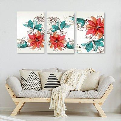 Quadro Decorativo Flores Laranjas 3P Sem Moldura 115x57 Sala Quarto
