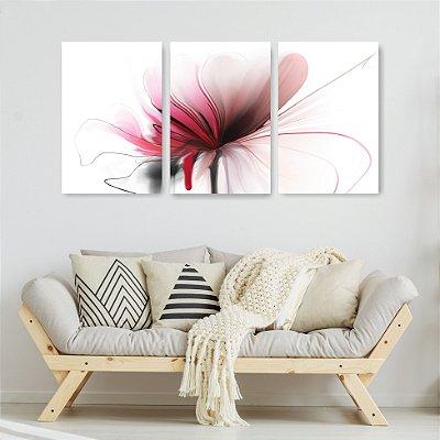 Quadro Decorativo Flor Vermelha Abstrata 3P Sem Moldura 115x57 Sala Quarto