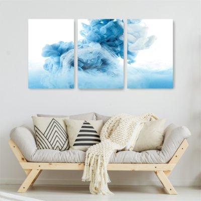 Quadro Decorativo Tinta Azul 3P Sem Moldura 115x57 Sala Quarto