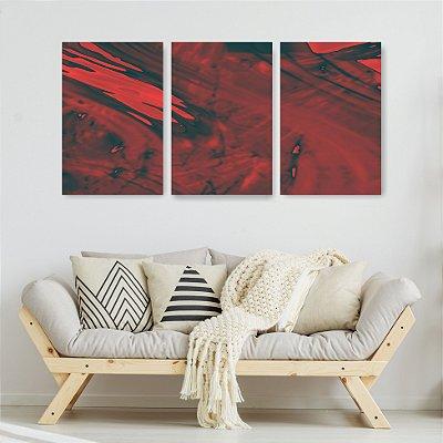 Quadro Decorativo Pintura Vermelho Escuro 3P Sem Moldura 115x57 Sala Quarto