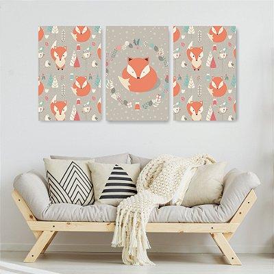 Quadro Decorativo Fox 3P Sem Moldura 115x57 Sala Quarto