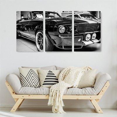 Quadro Decorativo Carro Preto 3P Sem Moldura 115x57 Sala Quarto