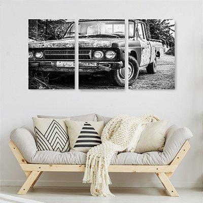 Quadro Decorativo Carro Antigo 3P Sem Moldura 115x57 Sala Quarto
