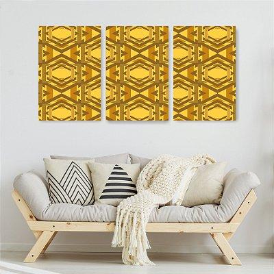 Quadro Decorativo Escandinavos Amarelos 3P Sem Moldura 115x57 Sala Quarto