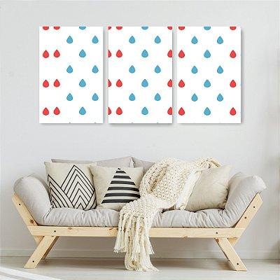 Quadro Decorativo Pingos Coloridos 3P Sem Moldura 115x57 Sala Quarto