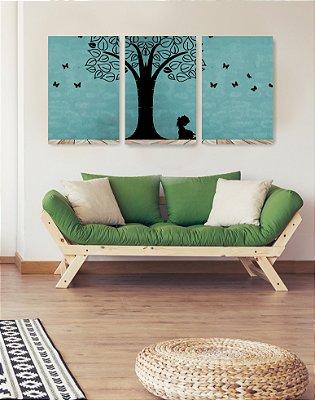 Quadro Decorativo Menina Debaixo Da Árvore 3P Sem Moldura 115x57 Sala Quarto