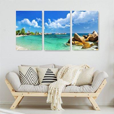 Quadro Decorativo Praia Paradisíaca 3P Sem Moldura 115x57 Sala Quarto