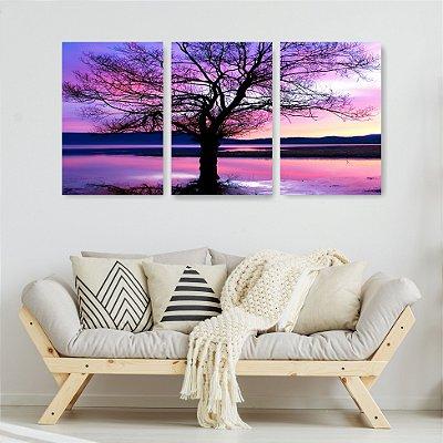 Quadro Decorativo Árvore Seca 3P Sem Moldura 115x57 Sala Quarto