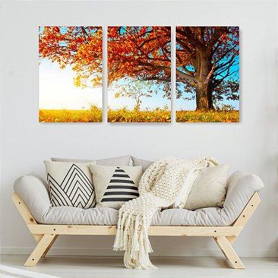 Quadro Decorativo Árvore De Outono 3P Sem Moldura 115x57 Sala Quarto