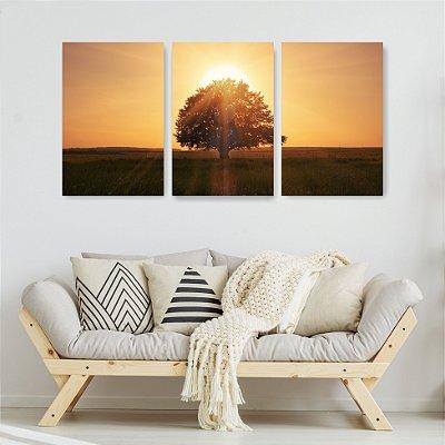 Quadro Decorativo Paisagem Árvore E Sol 3P Sem Moldura 115x57 Sala Quarto