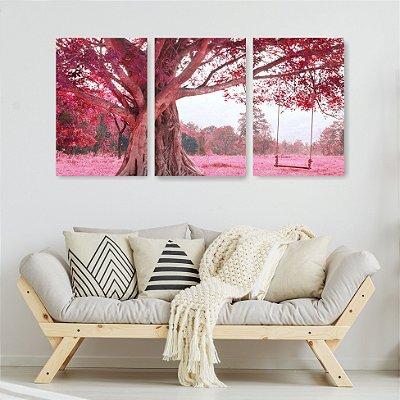 Quadro Decorativo Árvore Balanço Rosa 3P Sem Moldura 115x57 Sala Quarto